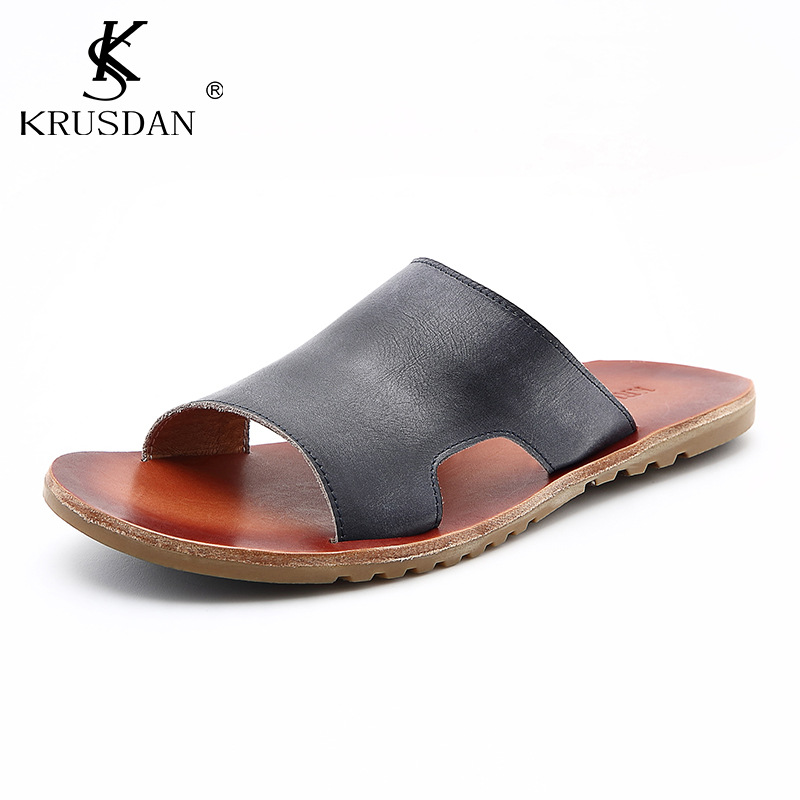 9ab62dace3d61f Top Quality Men s Shoes Genuine Leather Sandals Italian Style Luxury Brand  Summer Beach shoes Men s Sandals Slippers Men Sandals-in Slippers from Shoes  on ...