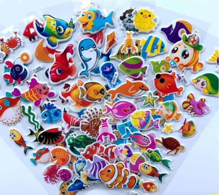 5 ورقة/مجموعة الكرتون البحر الحياة أسماك ملصقات 3D ملصقات الأزياء العلامة التجارية الاطفال الأطفال الفتيات الفتيان PVC ملصقات فقاعة ملصقات لعبة