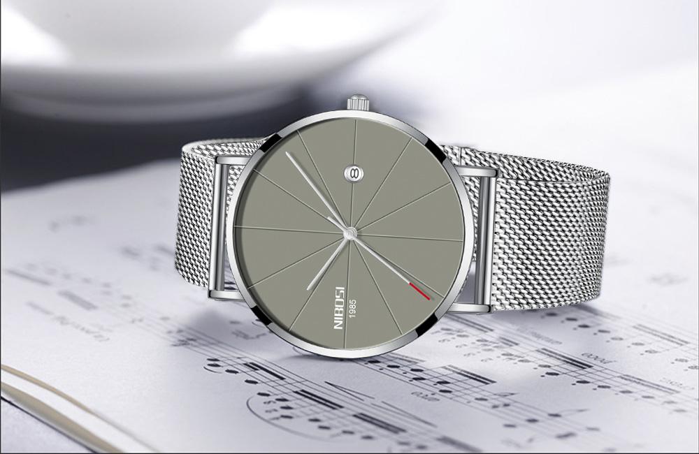 NIBOSI watch men black quartz wristwatches stainless steel mesh brand  watches men ultra thin quartz relogio masculino dourado (8)