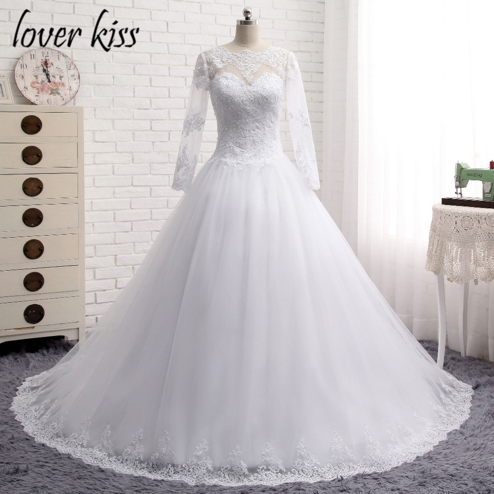 Lover kiss 2016 long sleeve wedding dress vestidos de for One arm wedding dresses