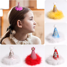 ncmama Hair Accessories Christmas Clips with Fur Small Hat Hairgrips Glitter Hairpin Party Fashion Barrettes Kids Headwear