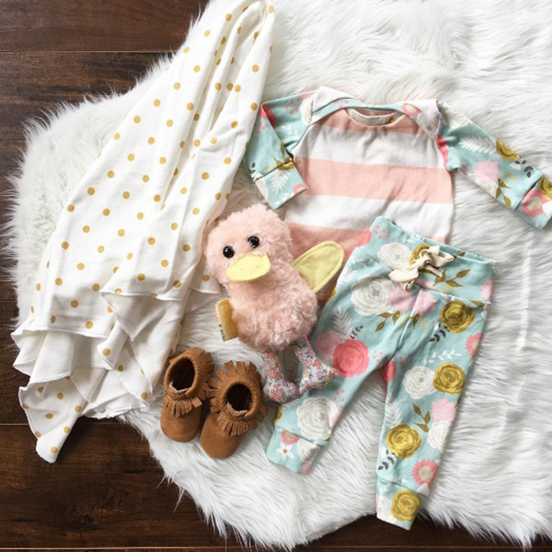 Infant Newborn baby girl s outfits Long sleeve T shirt Flower Leggings 2pcs suit Christmas baby