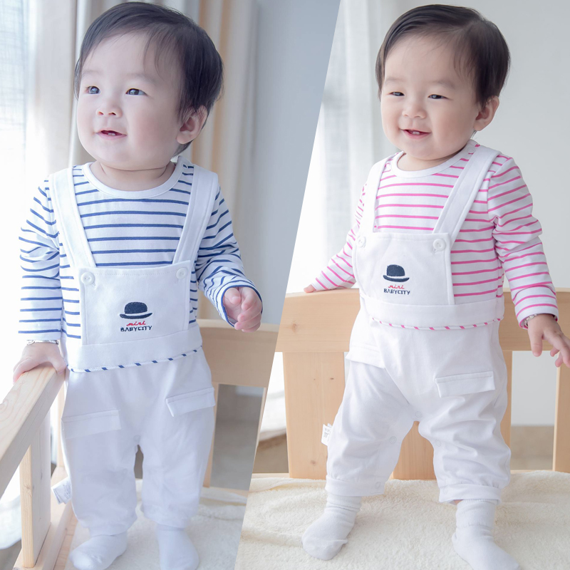 Fall Baby Striped Rompers Full Cotton Pretend Suspender Covered Button Diaper Jumpsuits Boys Girls Overalls Newborn Baby Clothes cotton baby rompers set newborn clothes baby clothing boys girls cartoon jumpsuits long sleeve overalls coveralls autumn winter