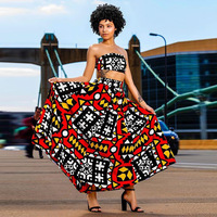 Africaine Top Fashion New Polyester Women African Dress Dresses 2017 Sexy Print Chest + Gown Set Two Sets