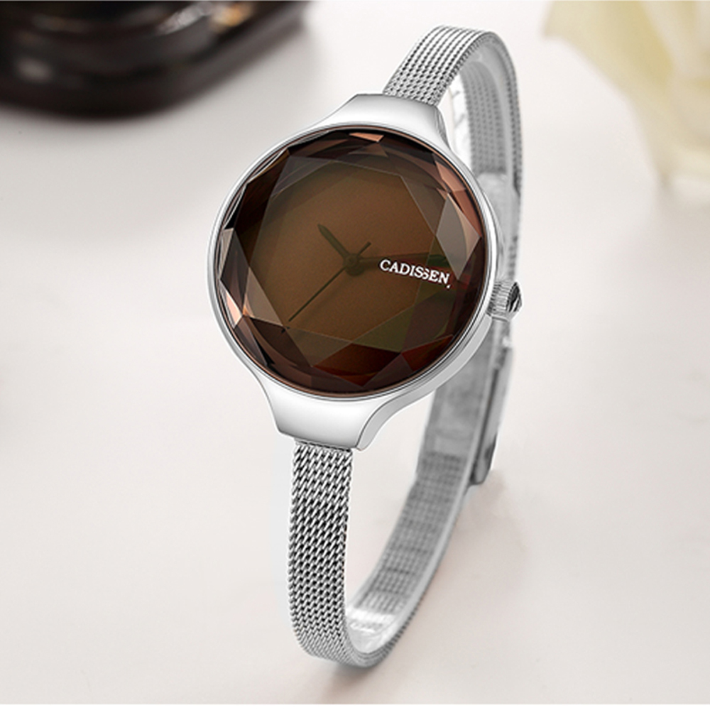 CADISEN Brand 2018 New Fashion Wristwatches Women Stainless Steel Band Women Dress Watches Women Quartz-Watch Relogio Feminino misscycy lz the 2016 new fashion brand top quality rhinestone men s steel band watch quartz women dress watch relogio feminino