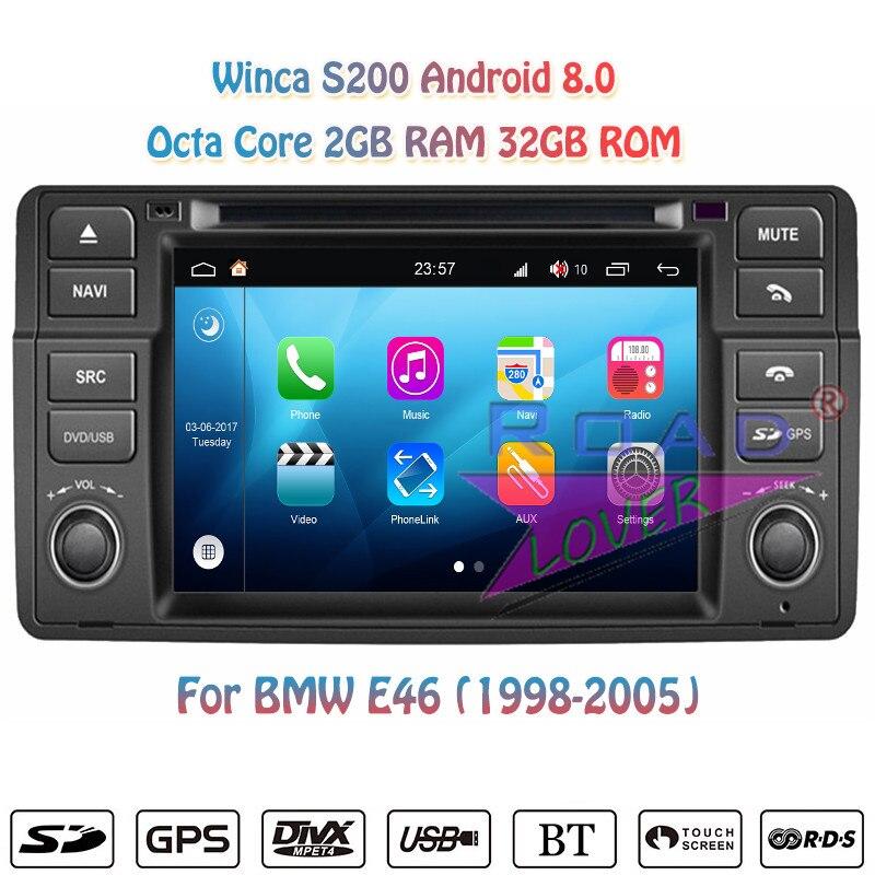 Winca S200 Android 8.0 DVD de voiture Automatique Lecteur Pour BMW Série 3 E46 M3 1998 1999 2000 2001 2002 2003 2004 2005 Stéréo GPS Navigation