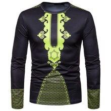 African Dashiki Print T Shirt 2018 Brand New Tribal Ethnic Totem Tee Shirt Homme Long Sleeve Casual Tshirt African Clothing XXL(China)