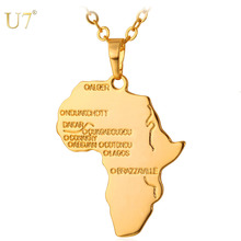 U7 Africa Necklace Gold Color Pendant Chain African Map Hiphop Gift for Men Women Ethiopian Jewelry