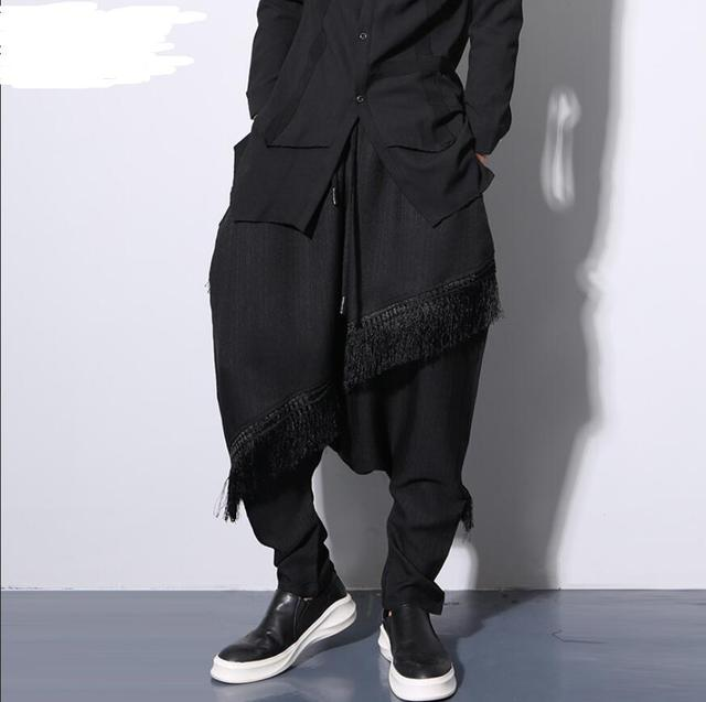 Novos homens de personalidade tendência cross-calça harem pants plus size calças cantores stage trajes esquilo voador!