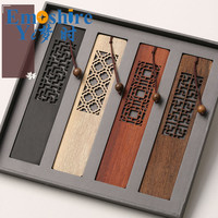 Retro Wooden Crafts Book Mark Wholesale Redwood Gift Creative Hollow Bookmark Gift Lettering Custom Kit Bookmark