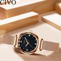CIVO 2019 Fashion Watches Women Waterproof Mesh Watchband rose gold watch Ladies Wristwatches Gift For Wife Relogio Feminino