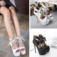 2017 Summer Style High Heels Sandals Women Open Toe Sandals Cross Tied Platform Sandals Women Laies Party Sandals Black White