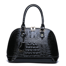 2019 Authentic Women Crocodile Shell Bag Patent Leather Women Handbag Hot Selling Tote Women Bag Large Brand Bags Luxury Black