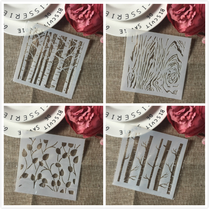 4Pcs/Set 13cm Tree Wooden Bud DIY Layering Stencils Wall Painting Scrapbook Coloring Embossing Album Decorative Card Template