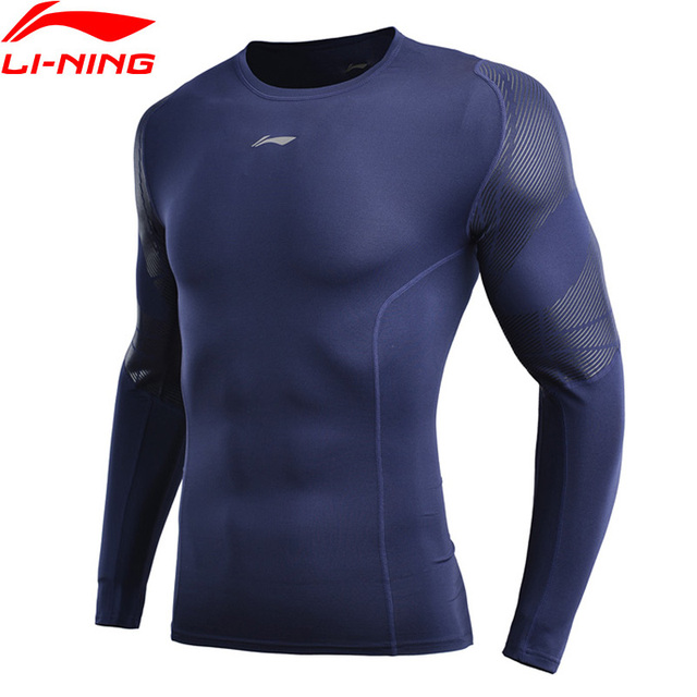 (Break Code) li Ning Men ฐานชั้นที่แห้ง FIT 88% โพลีเอสเตอร์ 12% Spandex แขนยาวซับกีฬาเสื้อยืด AUDN141 MTL1002