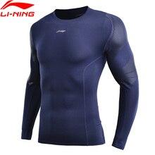 (לשבור קוד) li ning גברים בסיס שכבה באופן יבש הדוק Fit 88% פוליאסטר 12% ספנדקס ארוך שרוול רירית ספורט חולצה AUDN141 MTL1002