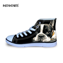 INSTANTARTS 2017 Fashion High-Top Canvas Shoes for Women Cute 3D Black French Bulldog Flat Shoes Ladies Lace-up Vulcanized Shoes