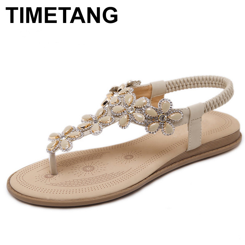 TIMETANG Zapato Women Sandals Beaded Ladies Flip Flops Bohemia Woman Shoes Comfort Beach Summer Flat Sandals Flat Shoes Woman timetang flat sandals t strap fashion trend sandals bohemia national flat heel beaded female shoes sale women shoes