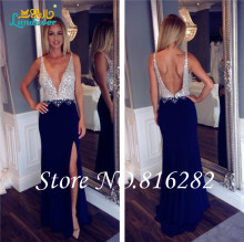 Sexy Deep V Neck Floor Length Long Prom font b Dress b font 2016 A line