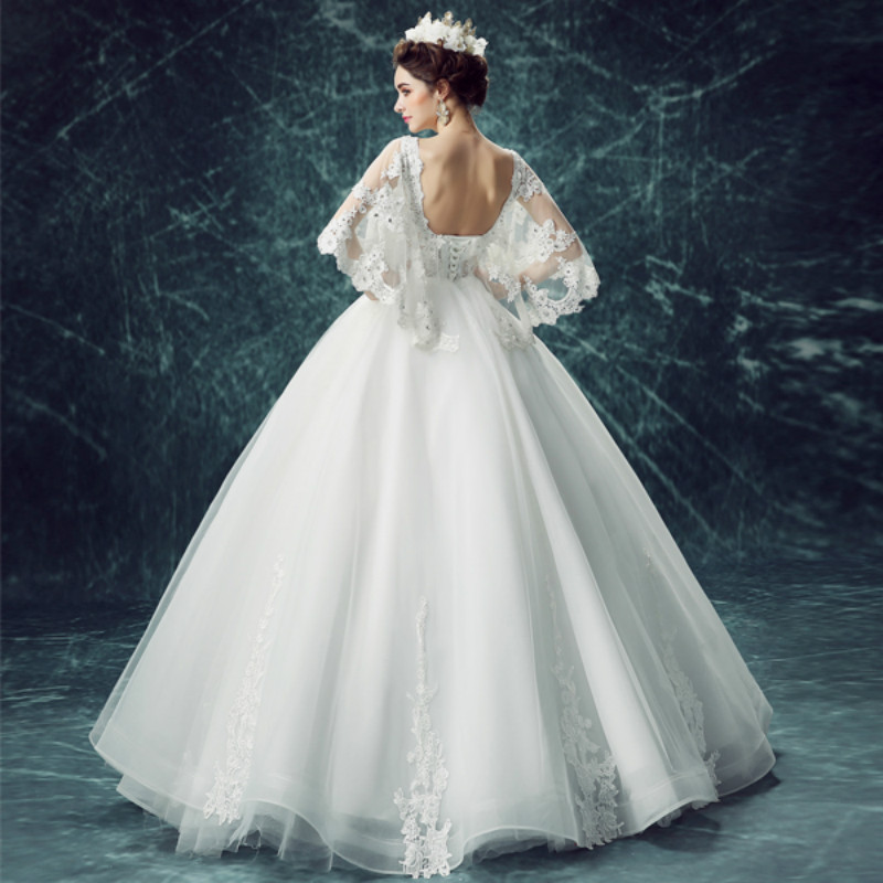 AnXin SH Luxurious Lace Butterfly Sleeve Wedding Dress Sexy Princess Bride New Summer 9708 S In Dresses From Weddings Events On