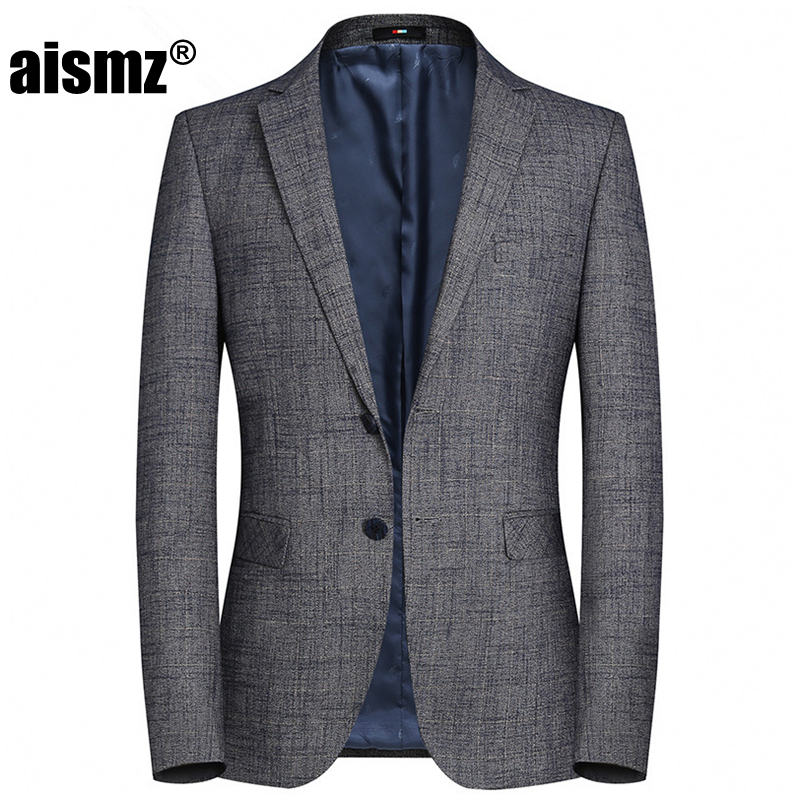Aismz Hight Quality Mens Blazers Casual Business Gray Spring Autumn Winter Fashion Jacket Blazer Masculino Coats Male Suits