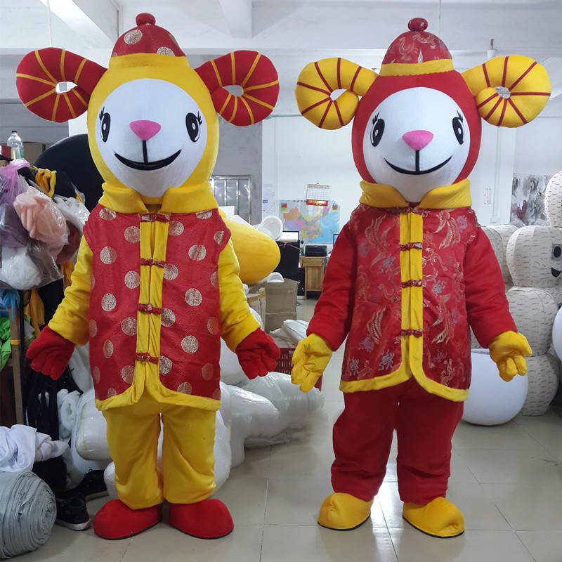 Le mouton mascotte Costume chinois nouvel an agneau chèvre mascotte Costumes fantaisie robe tenue Halloween Cosplay Costume