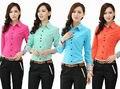 Novo 2015 primavera outono Formal uniforme escritório projeto mulheres ternos desgaste do trabalho com calças e Top define esteticista vestuário Set