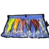 SET Of 6 Pusher Style Marlin Tuna Mahi Dolphin Durado Wahoo Trolling Lures Rigged And Bag