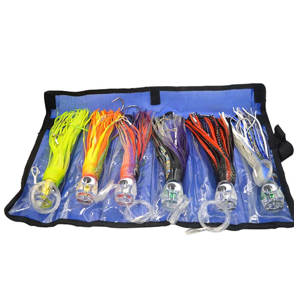 SET <font><b>of</b></font> 6 Pusher style Marlin / Tuna Mahi Dolphin Durado Wahoo Trolling skirt Lures. Rigged and bag included tuna 8.5 inch