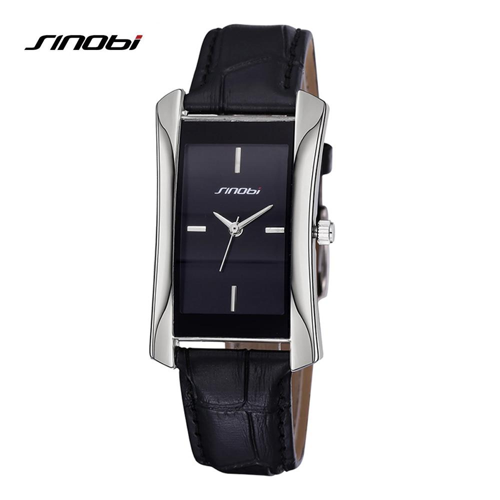 0813c55da SINOBI Elegant Women's Rectangle Wrist Watches Durable Leather Watchband  Top Luxury Brand Ladies Geneva Quartz Clock Female Gift