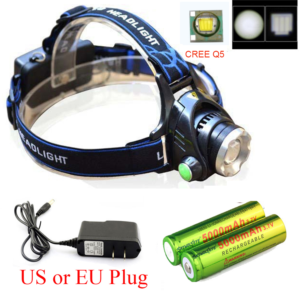Zoomable 1800LM CREE XM L XML Q5 LED Headlight Headlamp Flashlight Head Light Lamp AC Charger