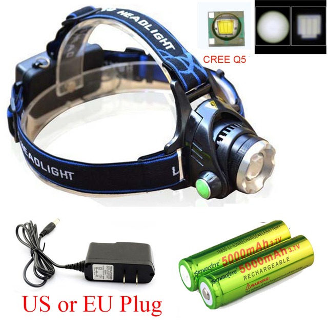 Zoomable 1800LM CREE XM-L XML Q5 LED Headlight Headlamp  Flashlight Head Light Lamp +AC Charger+18650 Recharger battery