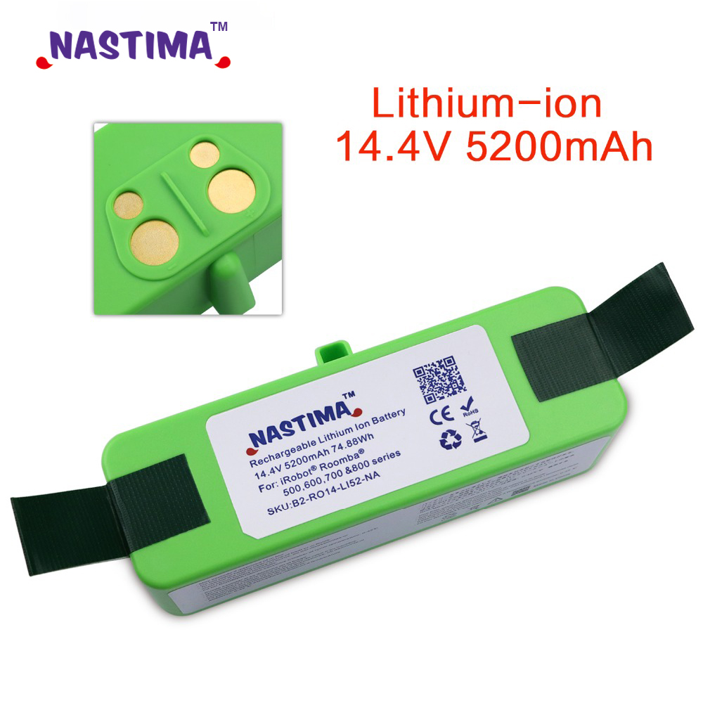 NASTIMA 14.4V 5200mAh Li-ion Replacement Battery Pack for iRobot Roomba 500,600,700,800 & 980 series 600 620 650 700 770 780 800NASTIMA 14.4V 5200mAh Li-ion Replacement Battery Pack for iRobot Roomba 500,600,700,800 & 980 series 600 620 650 700 770 780 800