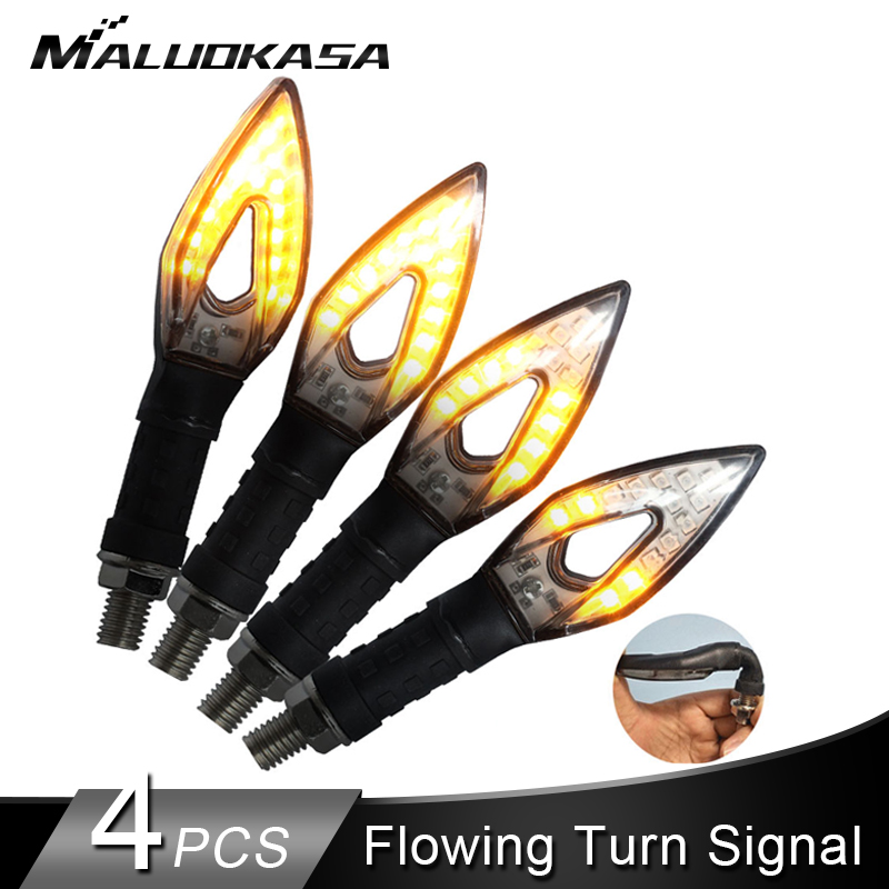 4PCS Motorcycle Turn Signals 14LED Blinker Flowing Water Flashing Light Tail Flasher Indicator Bendable Motorcycles Turn Signals4PCS Motorcycle Turn Signals 14LED Blinker Flowing Water Flashing Light Tail Flasher Indicator Bendable Motorcycles Turn Signals