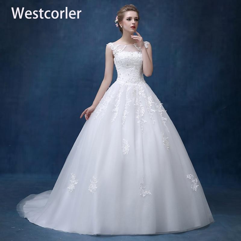 Una línea de encaje apliques de encaje vestidos de novia 2018 más - Vestidos de novia
