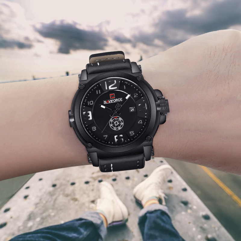 Image 5 - NAVIFORCE 9099 Mens Watches Top Brand Luxury Sport Quartz Watch Leather Strap Clock Men Waterproof Wristwatch Relogio Masculino-in Quartz Watches from Watches