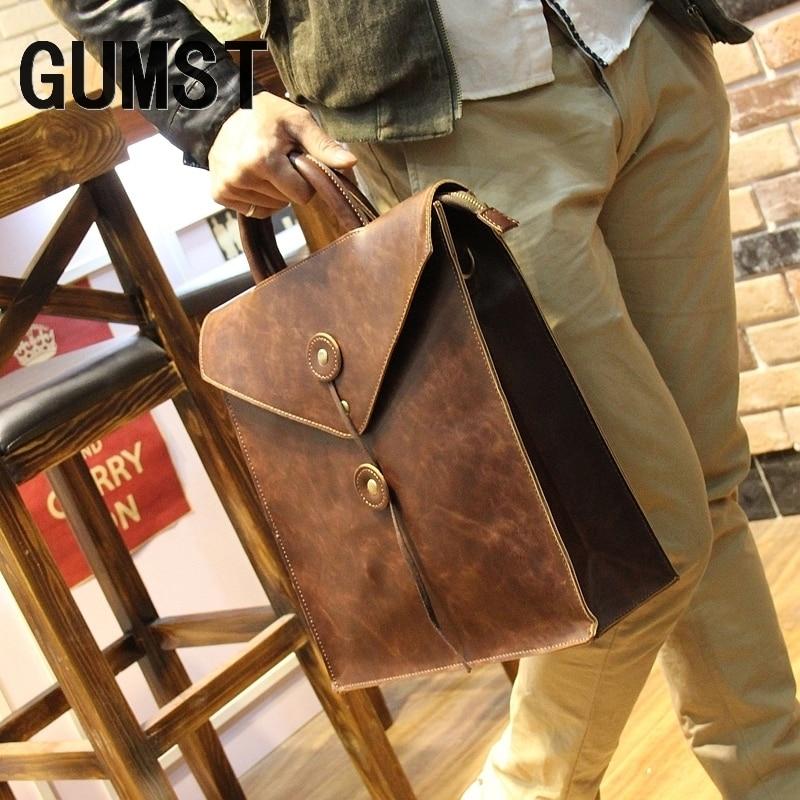 GUMST New Design Fashion Crazy Horse Leather Bags For Men Brand Men's Shoulder Bag Messenger Bag Briefcase For Laptop