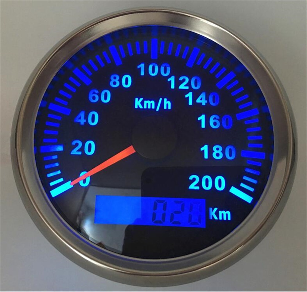 Pack of 1 0-200km/h GPS Speedometers 85mm Odometers Stainless Steel Bezel GPS Gauges with BLUE Backlight for Auto Truck Boat RV 1pc brand new auto tuning gauges 85mm gps speedometers 0 200km h lcd speed indicators with red backlight and antenna for sale