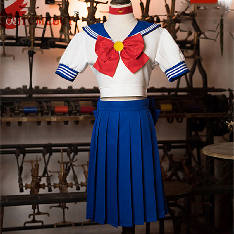 Costumebuy Sailor Moon Cosplay Navy Sailor Venus School Uniform Short Sleeve Costume Set Halloween Kawaii Girl Dress Skirt