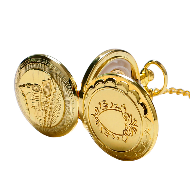 Golden Watch Train Locomotive Engine Design Pocket Watch Mechanical Fob Watches with Double Hunter Women Men Relogio De Bolso