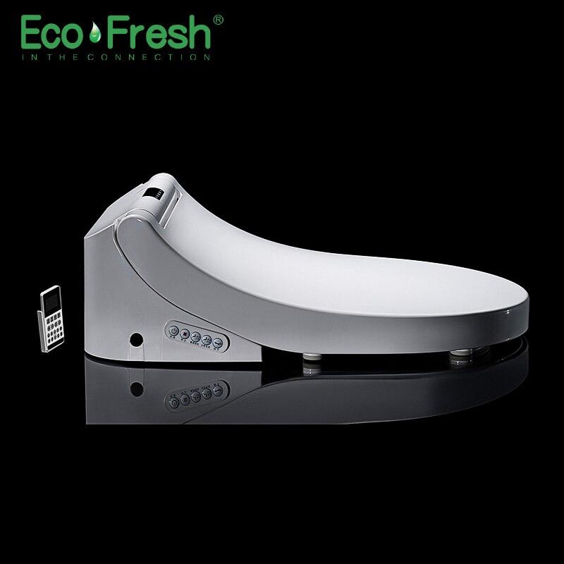 Ecofresh sedile Intelligente wc Washlet D-forma Elettrico Bidet della copertura di calore doppio ugello morbido lavaggio a secco da parete in forma di massaggio -montato wc