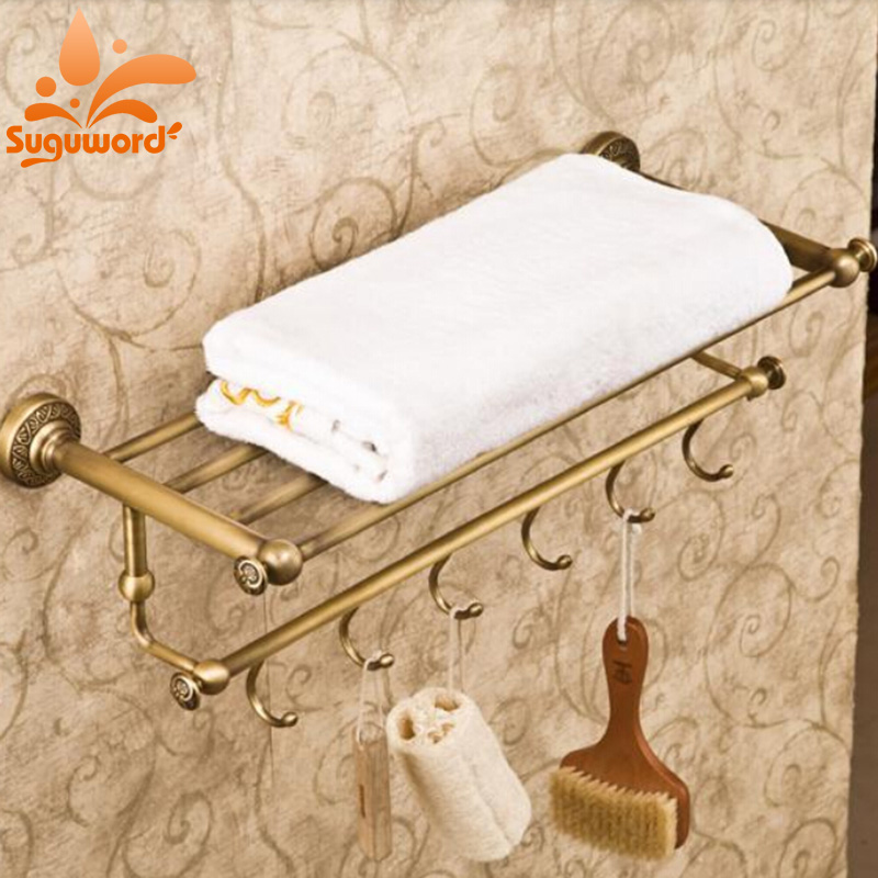 Bathroom Antique Brass Bath Towel Rack Wall Mounted Clothes Towel Shelf Holder with Hooks brand new foldable alumimum bathroom towel rack holder hanger kitchen hotel bath towel clothes storage shelf with 5 hooks