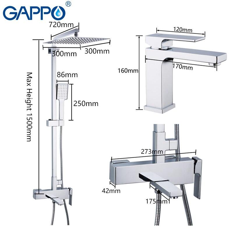 GAPPO shower system wall shower mixer brass shower faucet mixer wall mounted bathroom mixers Bathroom Shower Set-in Shower System from Home Improvement    2