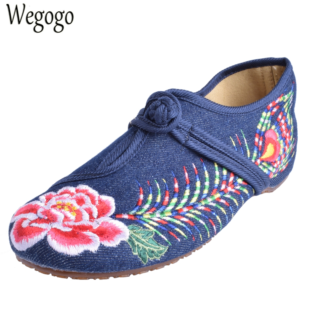 Old BeiJing  Peacock's Tail Floral Canvas Flats Blue Red Chinese National Comfortable Soft Sole Embroidery Cloth Dance Shoes women flats summer new old beijing embroidery shoes chinese national embroidered canvas soft women s singles dance ballet shoes