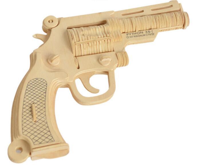 Моделирование револьвер игрушка модель 3d трехмерные деревянные головоломки игрушки для детей Diy ручной работы деревянные пазлы