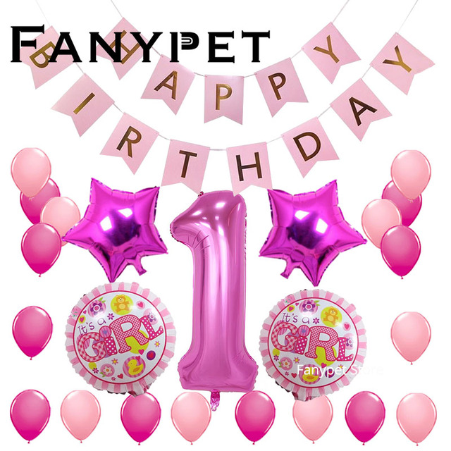 Fanypet 1st Birthday Party Decoration Kids Balloons DIY Number 1 First Baloon Foil Ballons Baby Shower Boy Girl Favors