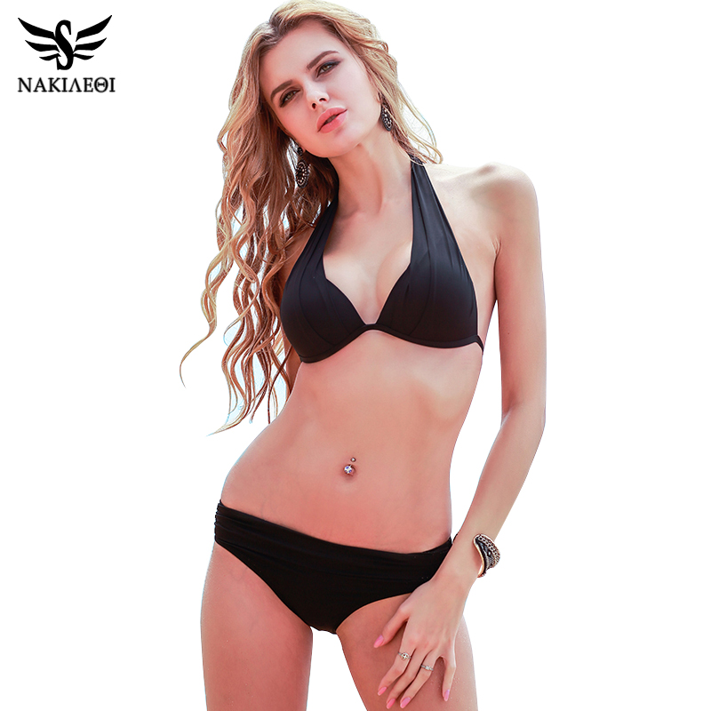 NAKIAEOI 2017 New Sexy Bikinis Women Swimsuit Push Up Swimwear Plus Size Brazilian Bikini Set Halter Retro Beach Bathing Suits nakiaeoi 2016 new sexy bikinis women swimsuit push up bikini set bathing suits halter summer beach wear plus size swimwear xxl