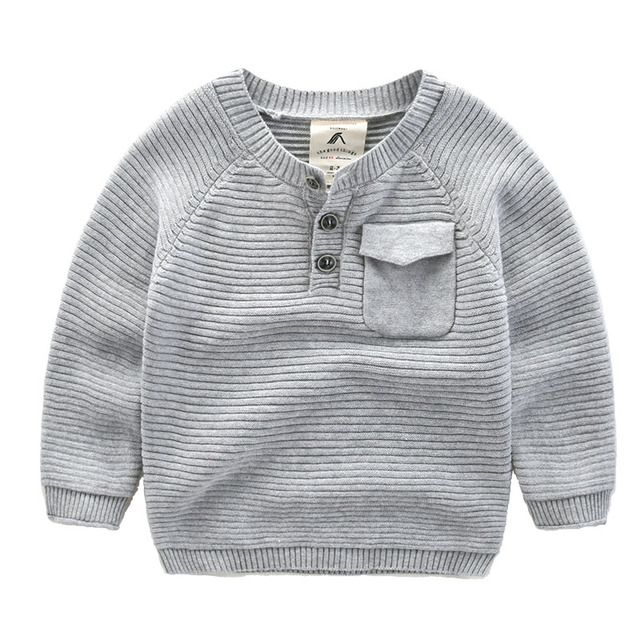 boy sweater 2016 new children simple cotton baby top clothes solid color 100% cotton round neck long sleeved autumn