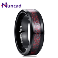 Nuncad 100% Tungsten Carbide Dragon Pattern Red Zircon Men Ring Wedding Bands Plating Black Color Carbon Fiber Ring Jewelry Gift
