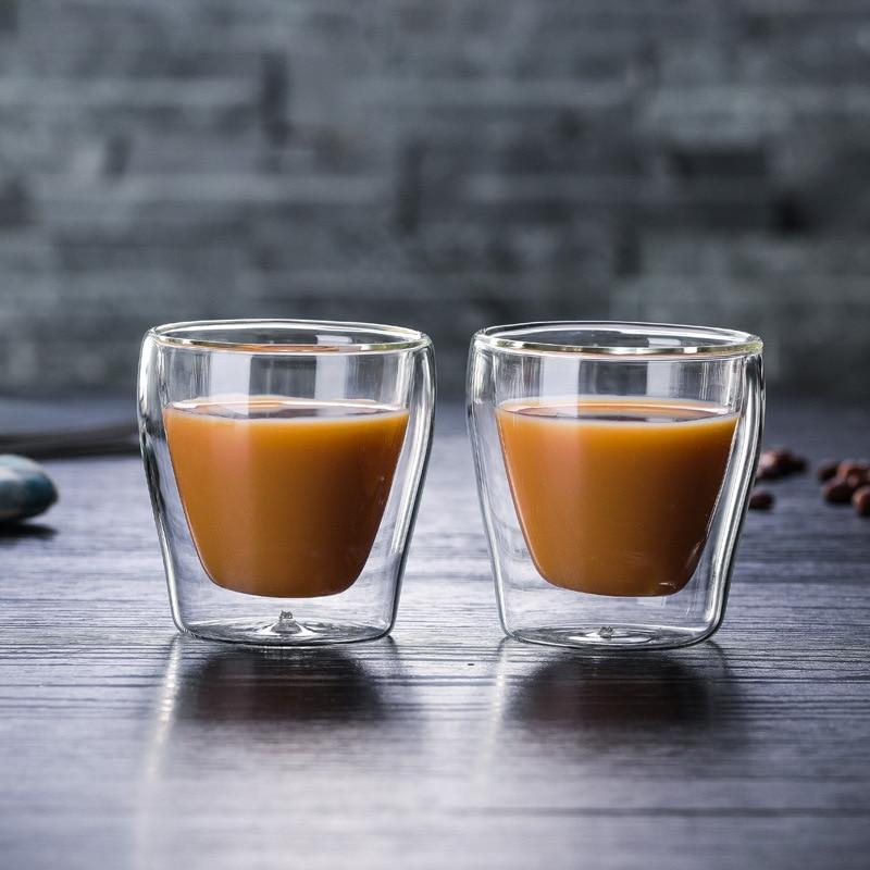 2PCS 100ml double layer coffee mug Italian espresso cup ...